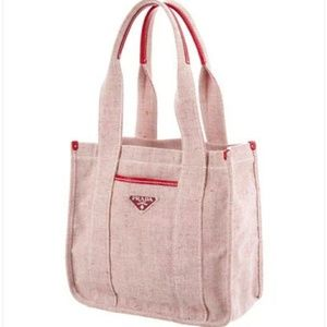 Authentic Prada Canvas Tote Hand Bag (Auth Card)